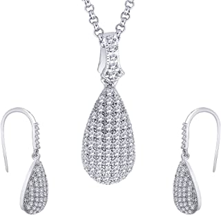 Viyari Studded Teardrop Pendant Necklace Earrings Set with Micro Pave Setting Cubic Zirconia