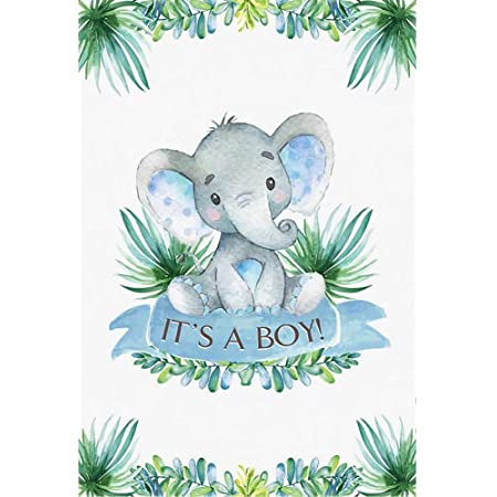 OFILA Polyester Fabric Elephant Backdrop for Girls Baby Shower 6x6ft Flowers Elephant Baby Shower Party Photography Background Girls Elephant Baby Shower Decoration Video Background Props