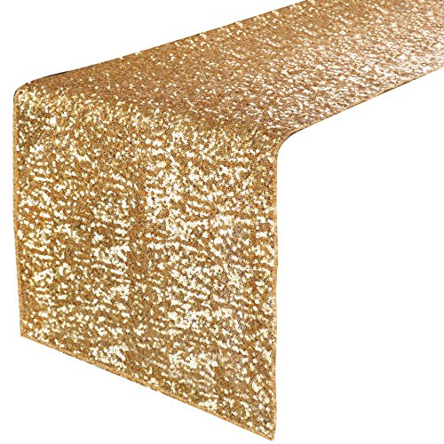 """PONY DANCE Party Table Runner - Banquet Decorative Sparkling Sequins Table Runner with Hem Edge for Decoration Christmas Birthday Holiday Wedding, 14"""" x 108"""", Gold, 1 Piece"""