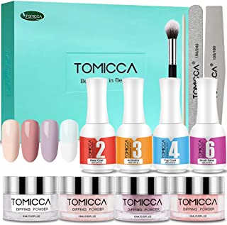 Dip Powder Nail Kit, TOMICCA Nail Dipping Powder System Starter Kit of 4 Colors 0.52oz - Finer Powder for Excellent Color - Easy to Apply