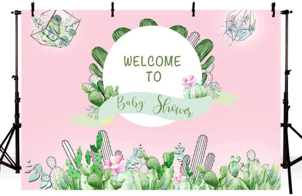 7/×5ft Background Wall Decoration Cartoon Photography Background Cactus and Flowers Children Stage Performance Birthday Party Background Wall Photo Portrait Party Supplies