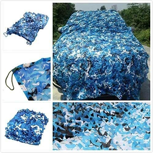 LISI Blue Camouflage Net Camo Netting Sun Visor Reinforced for Camping Protection Against Sun By Car Outdoor Decoration Garden Terrace (Size : 3 * 6M(9.8 * 19.7ft))
