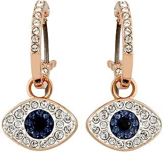 Symbolic Evil Eye Hoop Pierced Earrings, Multi-Colored, Rose Gold Plating