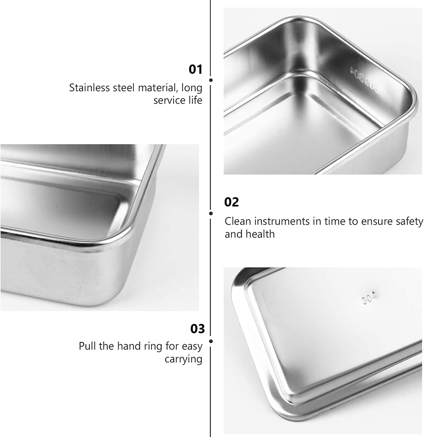 Experiment Tray Clinical Instrument Tray Device Square Trays with Cover 6 Inch Hemobllo Stainless Steel Instrument Tray