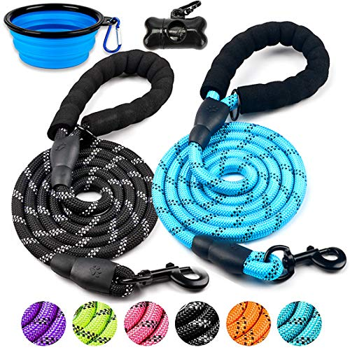 DOYOO 2 Pack Dog Leash 6 FT Thick Durable Nylon Rope - Comfortable Padded Handle - Highly Reflective Threads - Dog Leashes for Medium and Large Dogs with Collapsible Pet Bowl