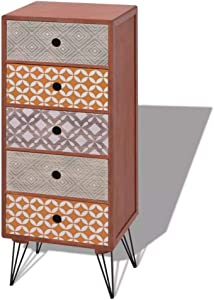 Xingshuoonline Schränkchen mit 5 Schubladen Braun Küchenschränke Höhe der Beine: 17,5 cm