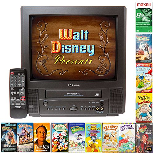 """Restored 13-Inch TV/VCR Combo with VHS Player Built in + Movie Bundle, Plays Video Tapes for Autistic Children, Grandparents, 13"""" Black + Warranty (Good)"""