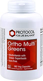 Protocol For Life Balance - Ortho Multi Greens - Multivitamin with Green Superfoods, Mix of Organic Spirulina, Chlorella, ...