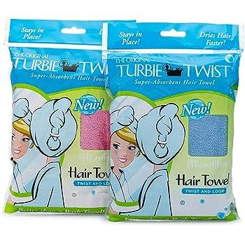 Turbie Twist Microfiber Hair Towel (2 Pack) (Blue, Pink)
