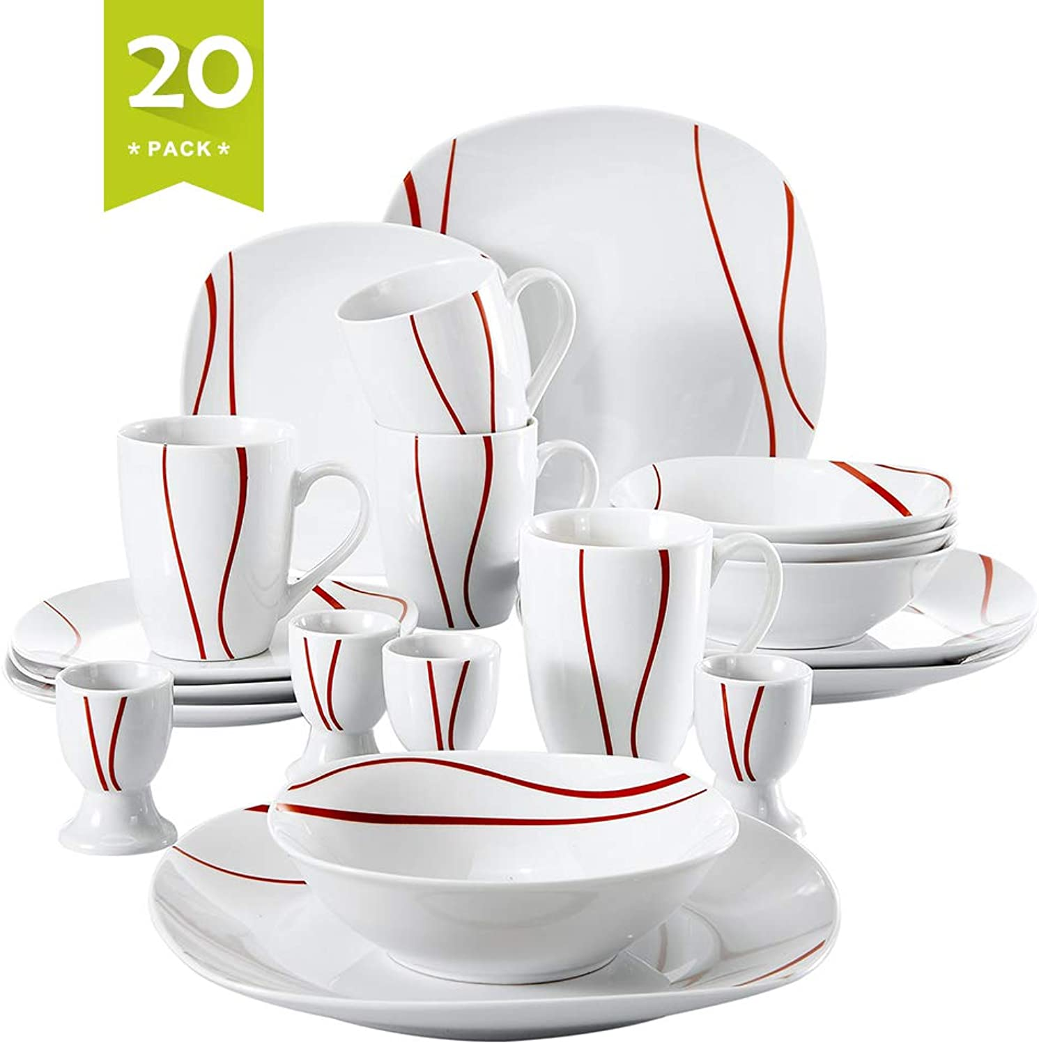 Malacasa 20-Piece Porcelain Dinnerware Set for 4 Person, Stoneware Dinner Set with Dinner Plates Soup Plates Dessert Plates Cups Saucers Service for 6, Ivory White, Series Felisa