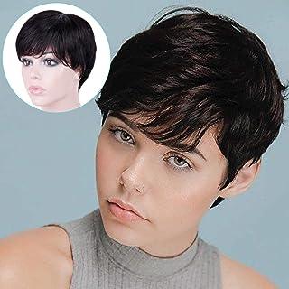 Becus Peruka brazylijska z prawdziwych włosów krótkie Pixie Cut krótkie włosy warstwowe z swobodną częścią boczną kucyk kr...