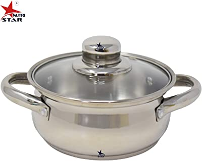 Nutristar Stainless Steel Dish Serveware with Glass lid and Handle | Dish Set serveware Diameter 7 Inch