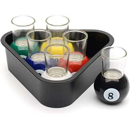 CKB LTD 6 Pool Ball Shot Glasses with Triangle Rack Serving Tray - Table  Billiards Novelty Drinking Games Room Home Bar Set : Amazon.co.uk: Home &  Kitchen