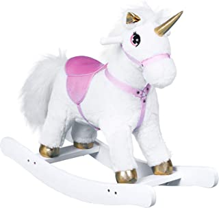 Qaba Unicorn Rocking Horse Toy with Sound for Kids, Wooden Plush Ride-On Rocker Battery Operated, White