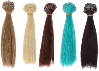 ULTNICE 5Pcs Doll Wigs Heat Resistant Straight Hair Wig Diy Doll Hair Hair Extensions