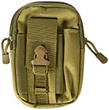 Efanr Universal Outdoor Tactical Holster Military Molle Hip Waist Belt Bag Wallet Pouch Purse Phone Case with Zipper Compatible with Samsung Galaxy S7 S6 LG HTC and More Smartphones (Khaki)