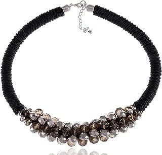 Womens Black Silvery Brown Retro Disco Ball Bead Twist Rope Choker Necklace