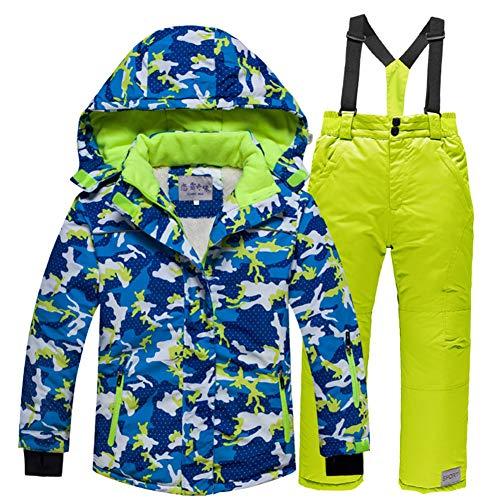 LSERVER Kinder Skianzug Set dicken zweiteiligen Skijacke + Skihose, Blaues Camouflage Top + grüne Hose, 150/160