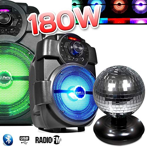Lautsprecher Party Karaoke 180W Laptop akku handy180mit USB/Bluetooth/FM Radio + Kugel Facette