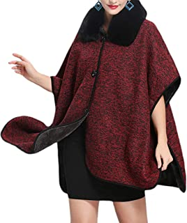 Helan Women's Faux Fox Fur Cloak Cape Coat Warm Shawl Wrap with Buttons