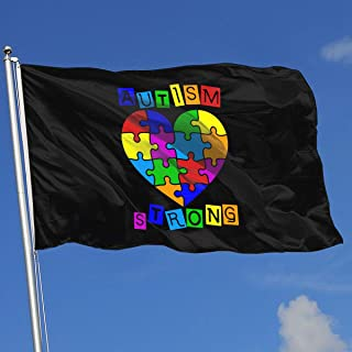 YAKER Autism Heart Puzzle Autism Awareness Flags 3x5 Foot Banner 3X5 Ft Polyester Banner Flags