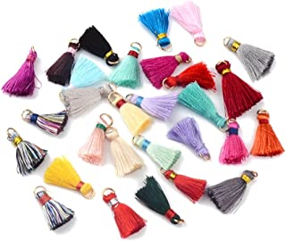 Pandahall 200pcs Nylon Thread Silky Tassel Pendant with Golden Iron Jump Rings Random Color Binding Threads Mixed Color Mixed Size