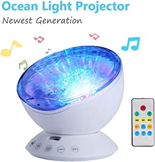 Ocean Wave Projector 12 LED Remote Control Undersea Projector Lamp - Aurora Night Light Projector with Build-in Speaker - 7 Color Changing Music Player Night Light Projector for Bedroom Living Room