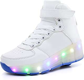 EVLYN Kids High-Top Shoes LED Light up Sneakers Single Wheel Roller Skate Shoes