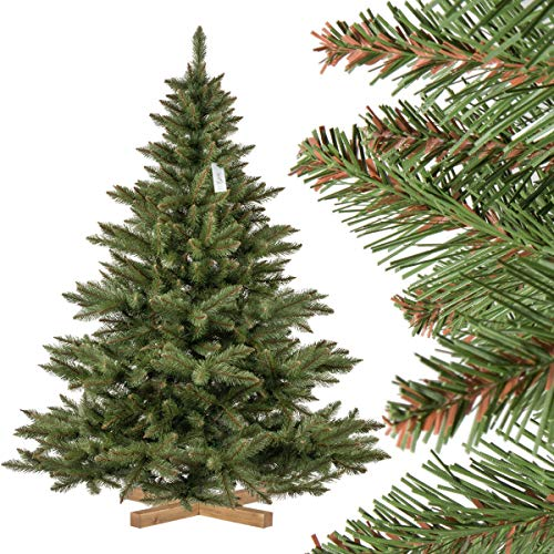 FairyTrees Artificiale Albero di Natale Abete NORDMANN, Tronco Verde, Materiale PVC, incl. Supporto in Legno, 180cm, FT14-180
