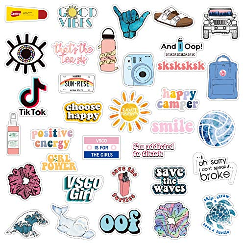 34PCs VSCO Stickers for Hydro Flask, Enjoyee Special Designed Multi Colorful Vinyl Water Bottle Stickers for Teens, Girls for VSCO Girls with Wrapping Box Decorated