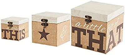 K&K Interiors Set of 3 This and That Boxes with Star Motif