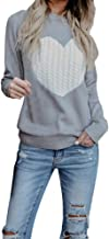 Womens Juniors Long Sleeve Crewneck Sweaters Casual Knit Chunky Pullover Love Heart Knitted Sweater Tops