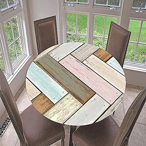 Fansu Impermeable Redondo Mantel con Borde Elástico, 3D Grano de Madera Impresión Mantel de Mesa Elástica Ajustada Cubierta de Mesa