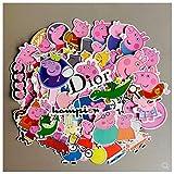 JZLMF Peppa Pig Sticker Cartoon Cute Bagagli Laptop Chitarra Skateboard Phone Sticker Impermeabile 50 Pezzi