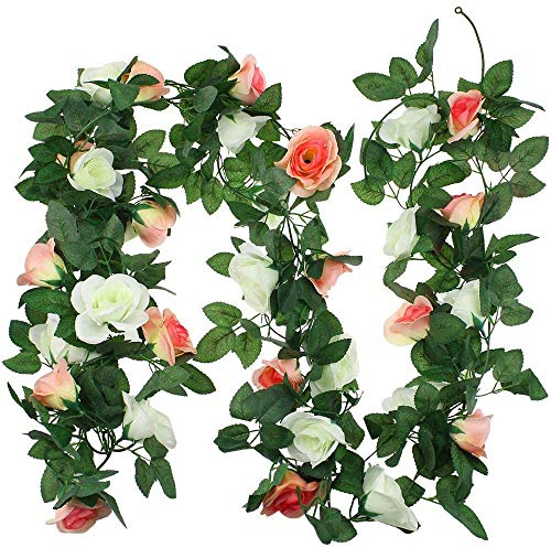 2 Pack Flower Garland Hanging Flowers Floral Garland 15ft Pink and Rose Red Artificial Flower Hanging Rose Garlands for Home Hotel Office Wedding Party Garden Craft Art Decor (White&Champagne)