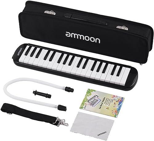 ammoon Mélodica 37 Touches Pianica Piano Style Harmonica Clavier avec Embouchure Chiffon de Nettoyage Etui de Transpo...