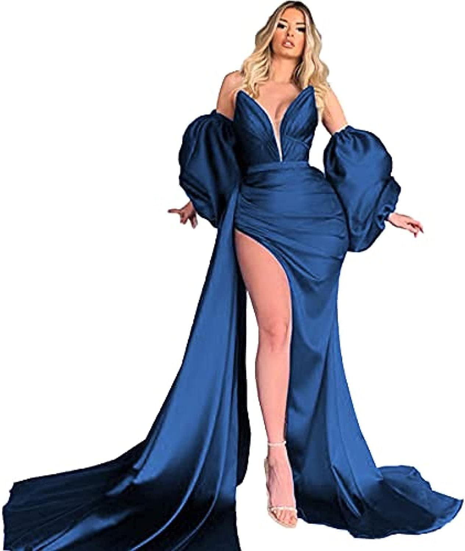 XIMILU Women's Sweetheart Puffy Sleeve Prom Dress Long High Split Maxi Dress Evening Gown