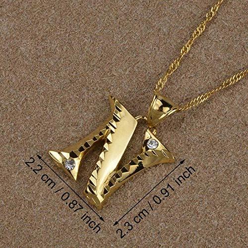 LLXXYY Collar Dama Mapa,Letra N Inicial En Inglés, Collares Colgantes para Hombres Mujeres Chica con Alfabeto De Piedra Color Oro Cadena Encanto Joyas