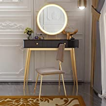 Dressing Table with 3-Color Adjustable LED Mirror, Dressing Table with Two Equal Drawers, Dressing Table with Stool (Gray/...