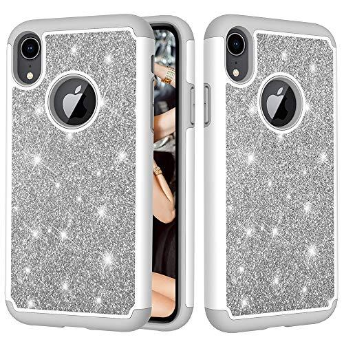 KIOKIOIPO-N Mode Glitter Pulver Kontrast Haut stoßfest Silikon + PC-Schutzhülle for iPhone XR (Color : Grau)