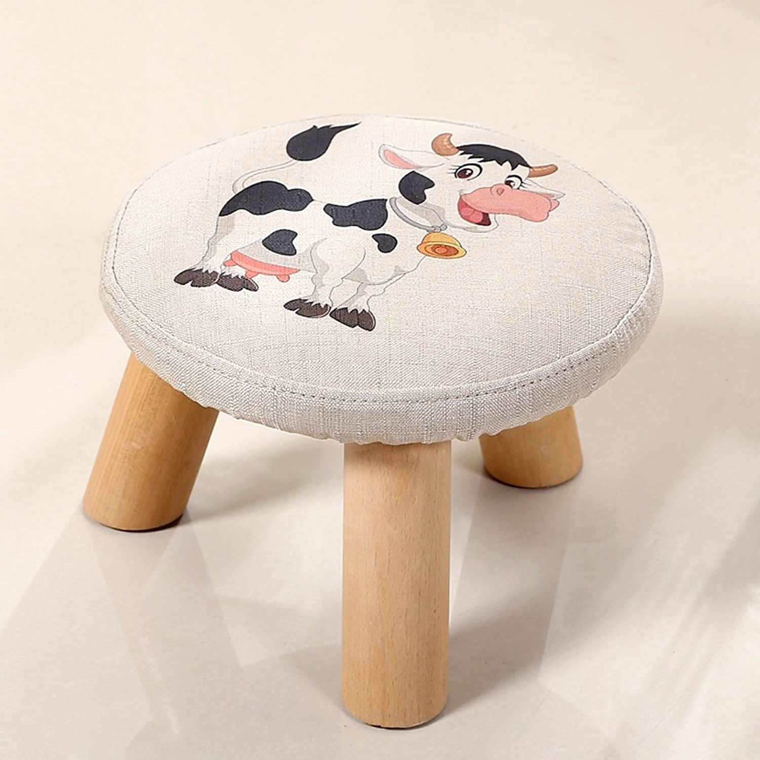 Footstool - Round Pouf Foot Rest with Removable Linen Fabric Cover (color   4)