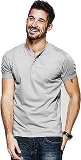 Men Casual Henley T Shirt Sexy V Neck Cotton Short Sleeve Tops