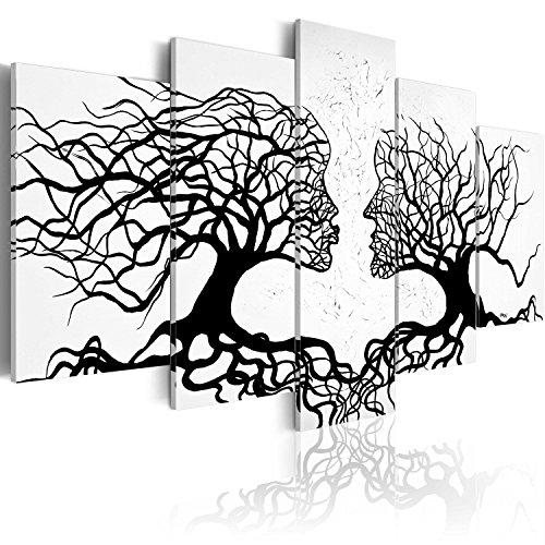 murando - Cuadro en Lienzo 200x100 Impresión de 5 Piezas Material Tejido no Tejido Impresión Artística Imagen Gráfica Decoracion de Pared Abstracto Personas Arbol Blanco Negro a-A-0104-b-m