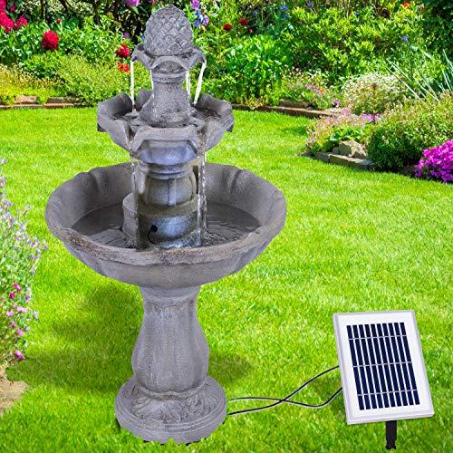 profi-pumpe.de Solar Gartenbrunnen Brunnen Solarbrunnen Zierbrunnen Wasserfall Asia-Garten Gartenleuchte Teichpumpe für Terrasse, Balkon, mit Pumpen-instant-Start-Funktion mit Liion-Akku & Led-Licht