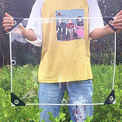 Lonas Impermeable Lona Transparente Impermeable De Alta Resistencia, Lona De PVC Gruesa para Exteriores Con Ojales, Cubierta De Plástico para Plantas Dosel Terraza, 400G/600(Color:0.3mm,Size:1.6×2M)
