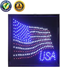 anrookie LED American Flag Sign, (19x19inch 110v On/Off withChain) American Flag LED Lighted Sign Animated Mode,for Walls, Window, Shop,Party,Grand Festival …