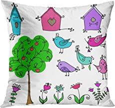 Sayakki Throw Pillow Cover Intage Bird's Nest Cute Cartoon Birds Tree Animal Art Baby Beautiful Bird Polyester Sofa Car Livingroom Bedroom Home Decor Soft Cushion Cover Pillowcase 18x18 Inch