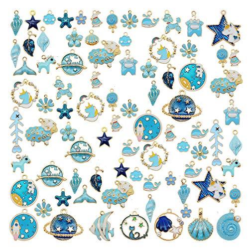 30pcs Mixed Enamel Blue Theme Charms Pendants for Jewelry Making Bulk lot Necklace Earrings Bracelet Craft Findings