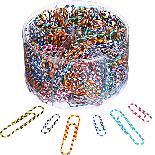Paper Clips, Medium and Jumbo Paper Clips, Durable and Rustproof, Multi-Color Coated Large Paper Clips Great for Office School Document Organizing (Multicolored) (Striped, 28mm 600pcs)