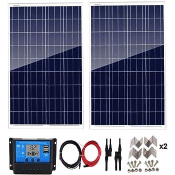 Amazon Com Auecoor 200 Watts Solar Panel Kit 2 Pcs 100w Polycrystalline Solar Panels W Pwm 20a Lcd Controller 5m Solar Cable Z Brackets Y Connectors High Efficiency Module Rv Marine Boat Off Grid Garden